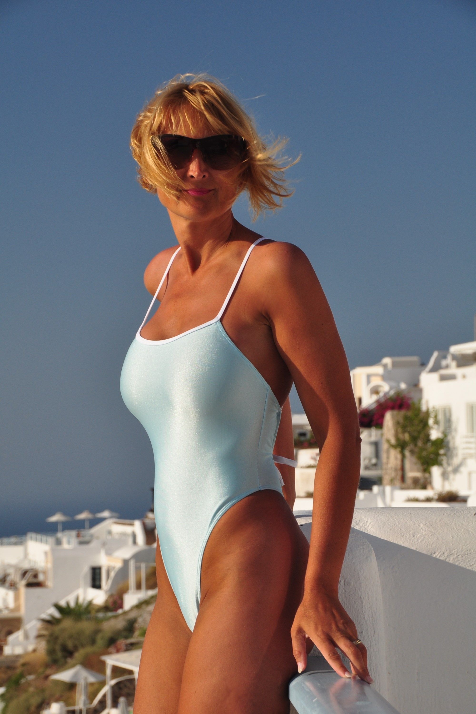 Crisscross Baby Blue swimsuit front