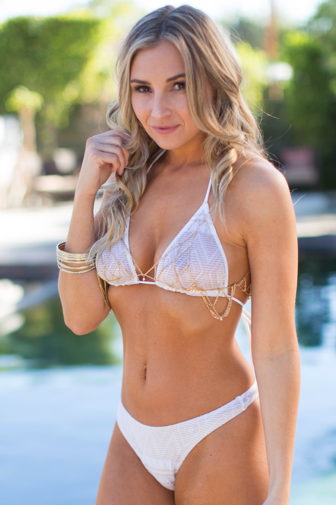 Desert Gold White/Gold Sheer Bikini Top
