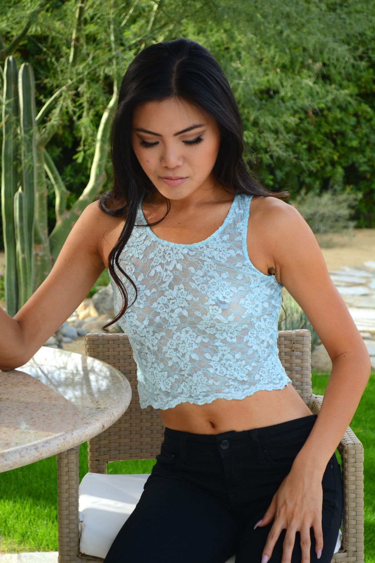 short lace tank top
