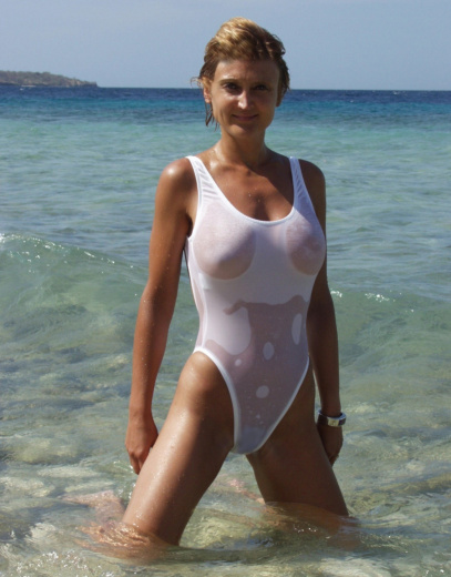 Sheer 2Scoops one piece sexy bathing suit brigitewear white
