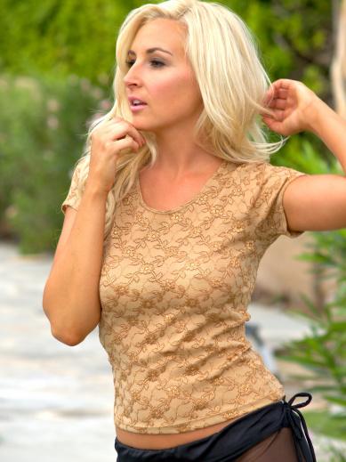 TanGold lace Long T-Shirt brigitewear