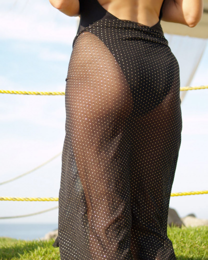 sheer black gold sarong for women brigitewear