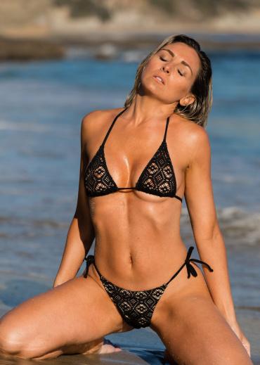 black crochet bikini swimsuit for women