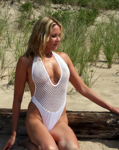 diamant blanc bathing suit with sheer top brigitewear
