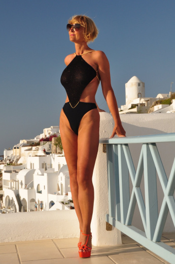 diamond thong one piece sheer swimsuit black/gold