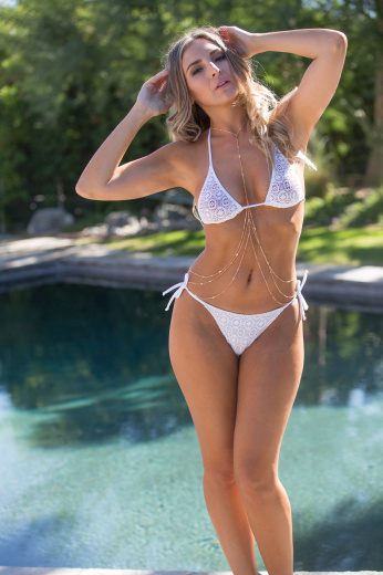 white crochet bikini swimsuit for women