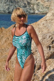 Crisscross Painted Jade sheer one piece swimsuit