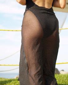 Black Gold Dot Long Sarong | Brigitewear