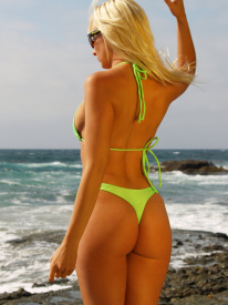 Cannes thong bikini bottom in Neon Lime