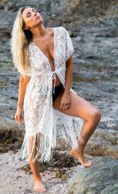 Fringe Cover over Side Cross Bikini Bottom