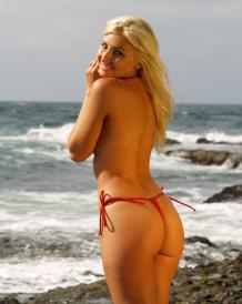 g-string bikini with tie sides topless brigitewear red