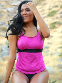 Scoop Neck Tankini top in Fuschia
