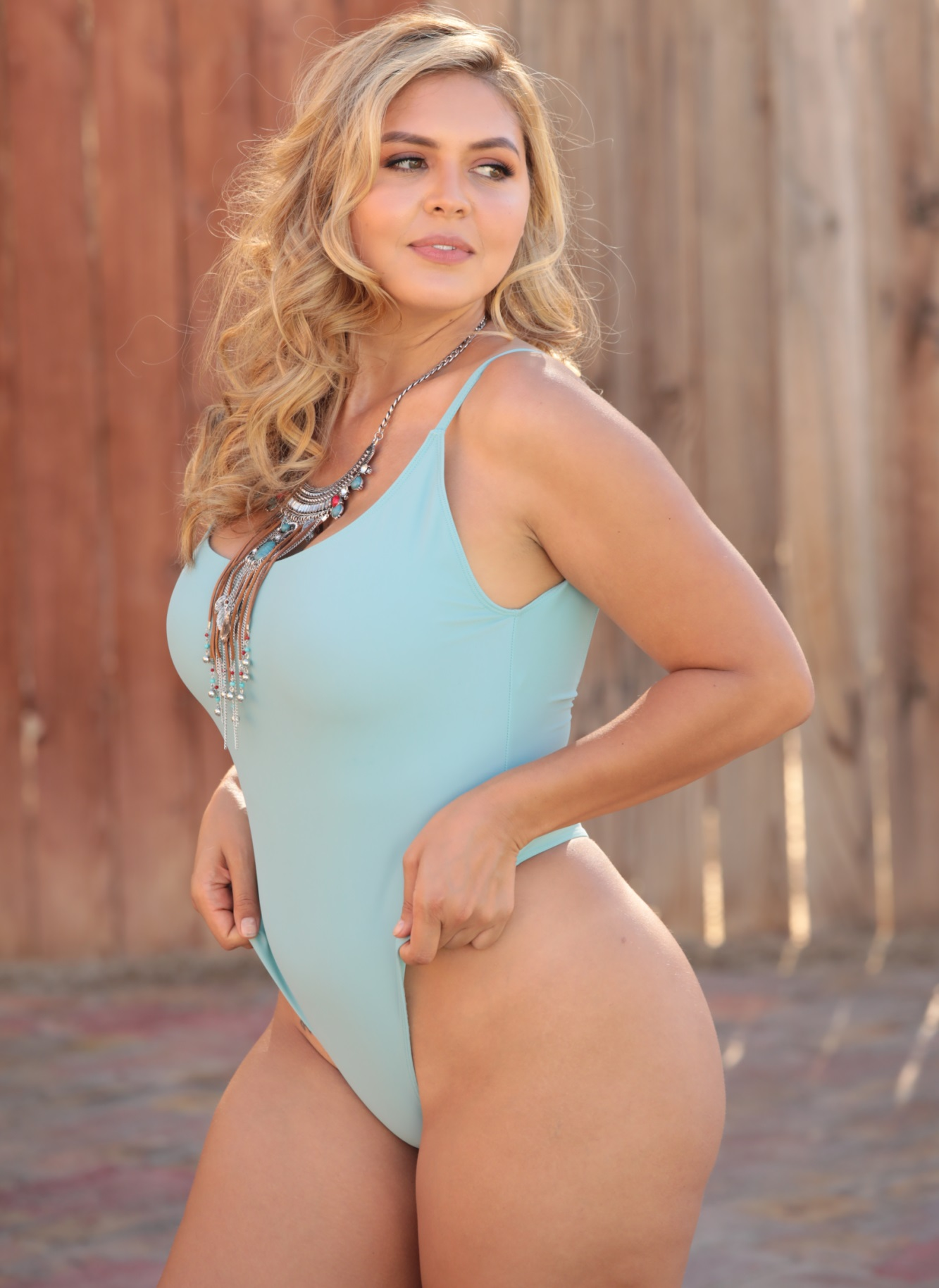 Sheer St Tropez one piece thong bathing in Sea Foam